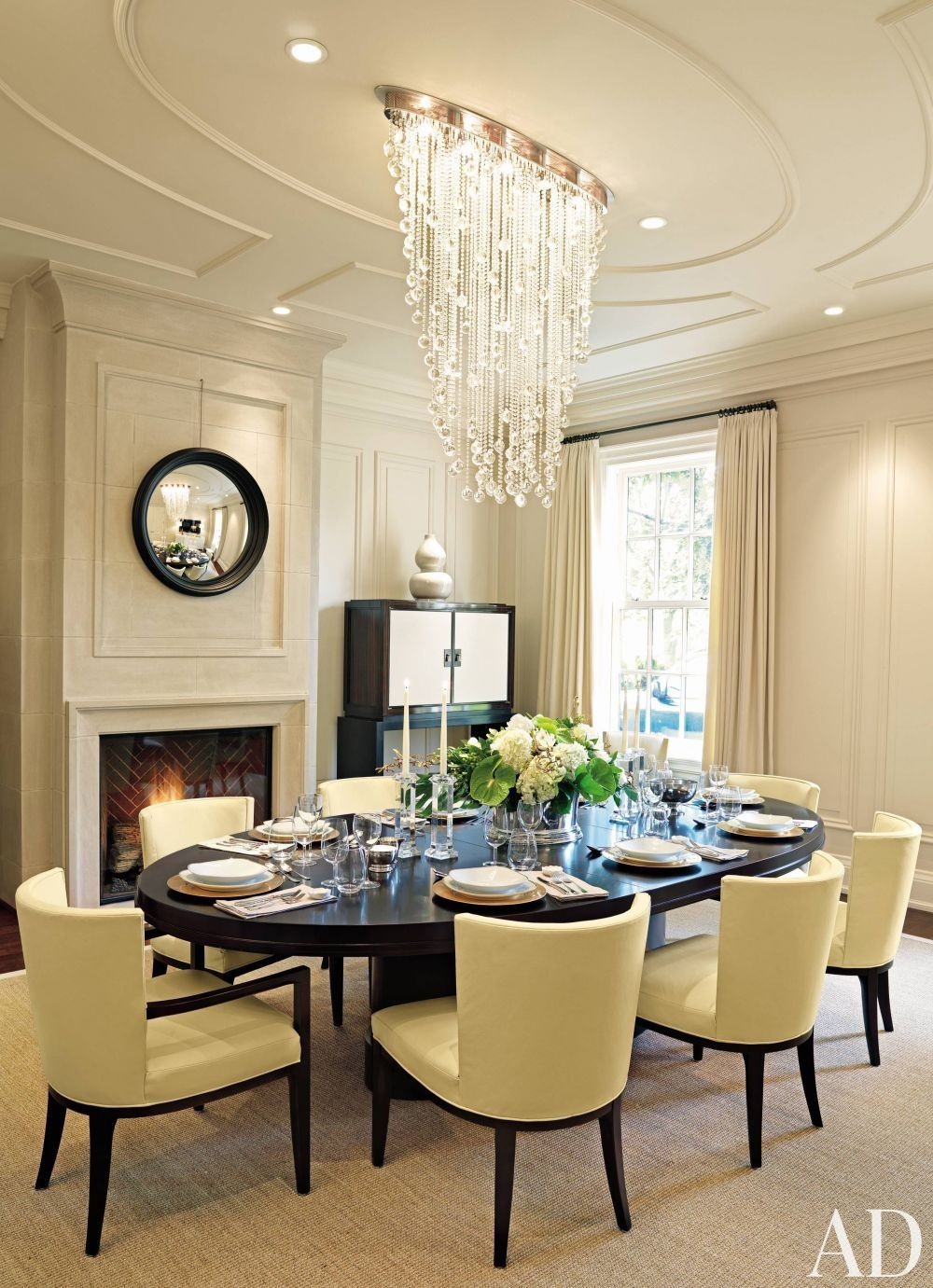 Lovely Chandelier In Traditional Dining Room By Powell Bonnell