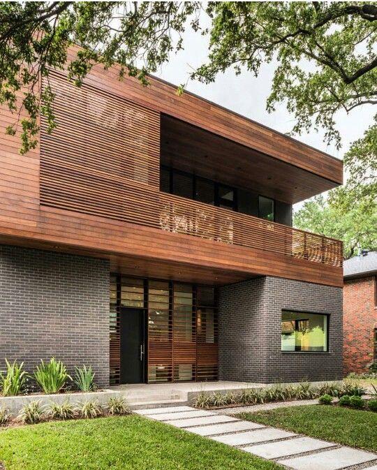 Frond Facade Dark Brick Wood Arquitetura Residencial