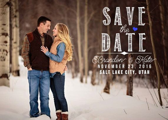 Save-the-Date Announcement Custom Wedding by Eighteen61Designs