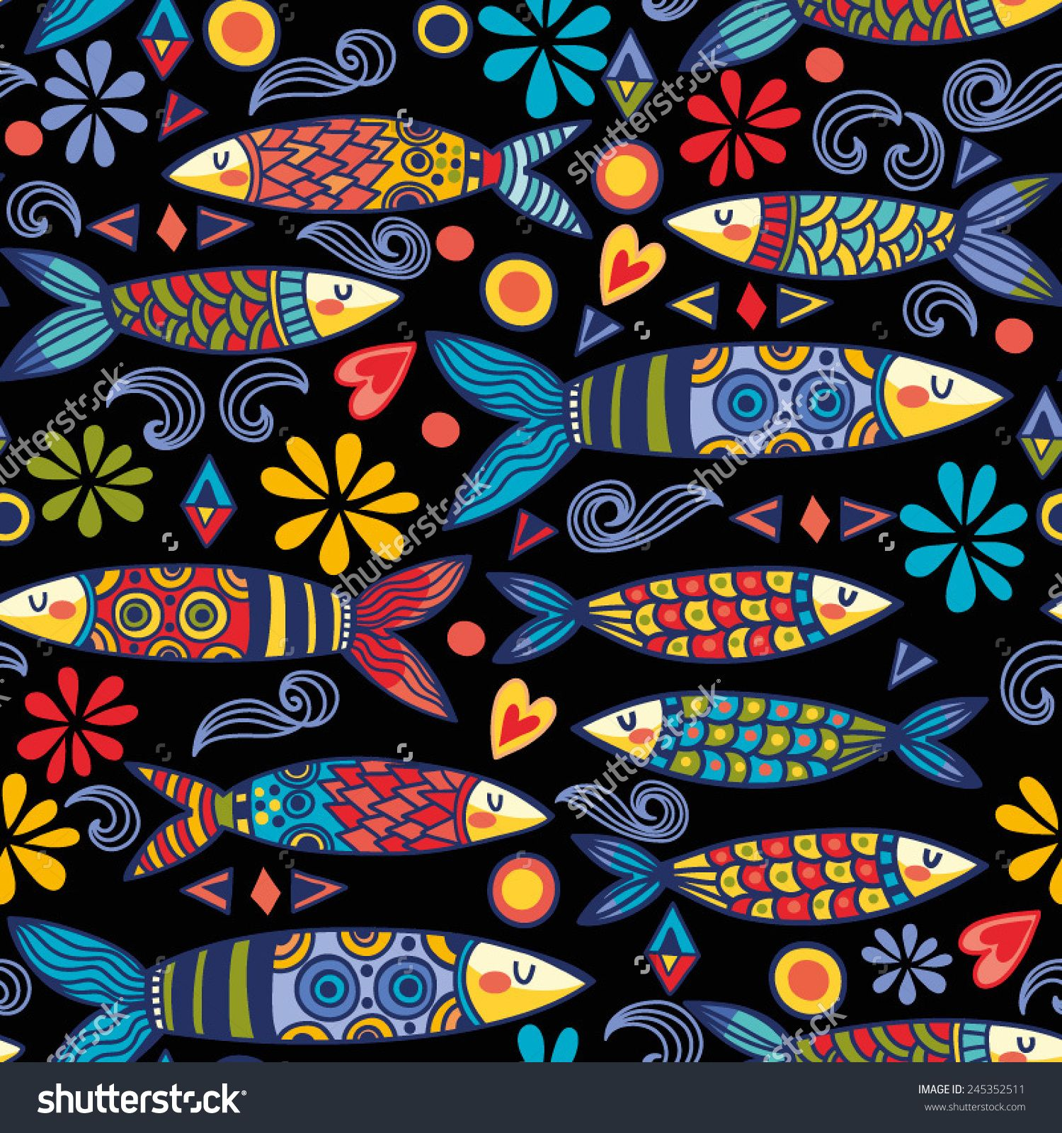 163702197 Bright and amazing Portugal pattern of ornamental sardines and graphic  elements.
