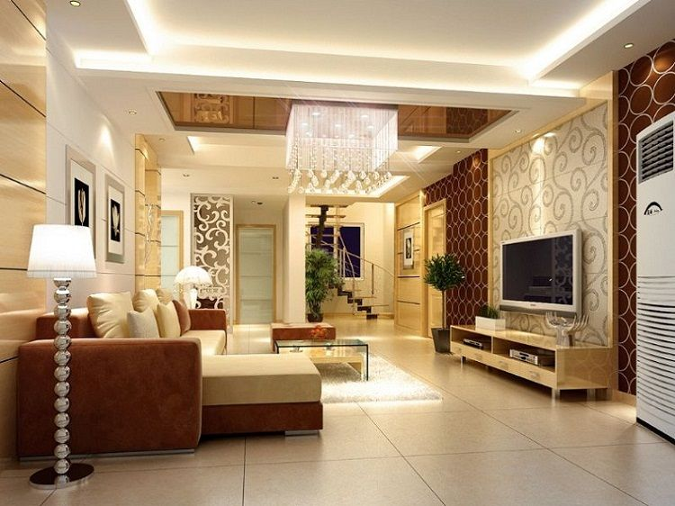 Drawing Room Interior Design Ideas Part - 43: Luxury POP False Ceiling Design Ideas For Living Room Interior With Flat  Screen TV Idea