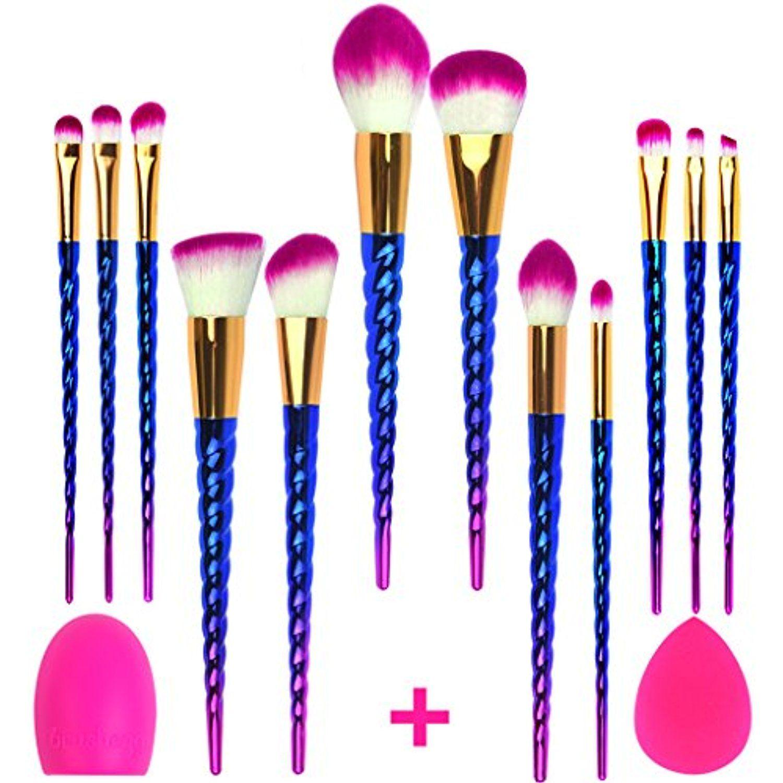 12Pcs Colorful Screw Thread Makeup Brush Set Face Makeup