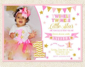Twinkle Twinkle Little Star Invitation Girl by SprinkledDesign