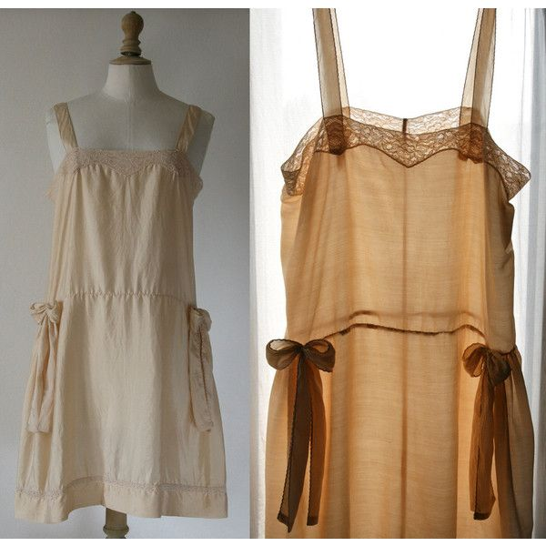 Lingerie 1920'S Style Silk Slip Fully Handstitched Beige Off-White. ($131) ❤ liked on Polyvore featuring intimates, black, lingerie, teddies & babydolls, women's clothing, vintage slip, lingerie slip, black slip, strappy lingerie and vintage silk slip