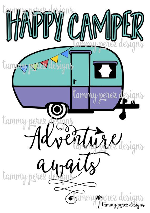 Happy Camper Adventure Awaits Campfire Camping SVG DXF File