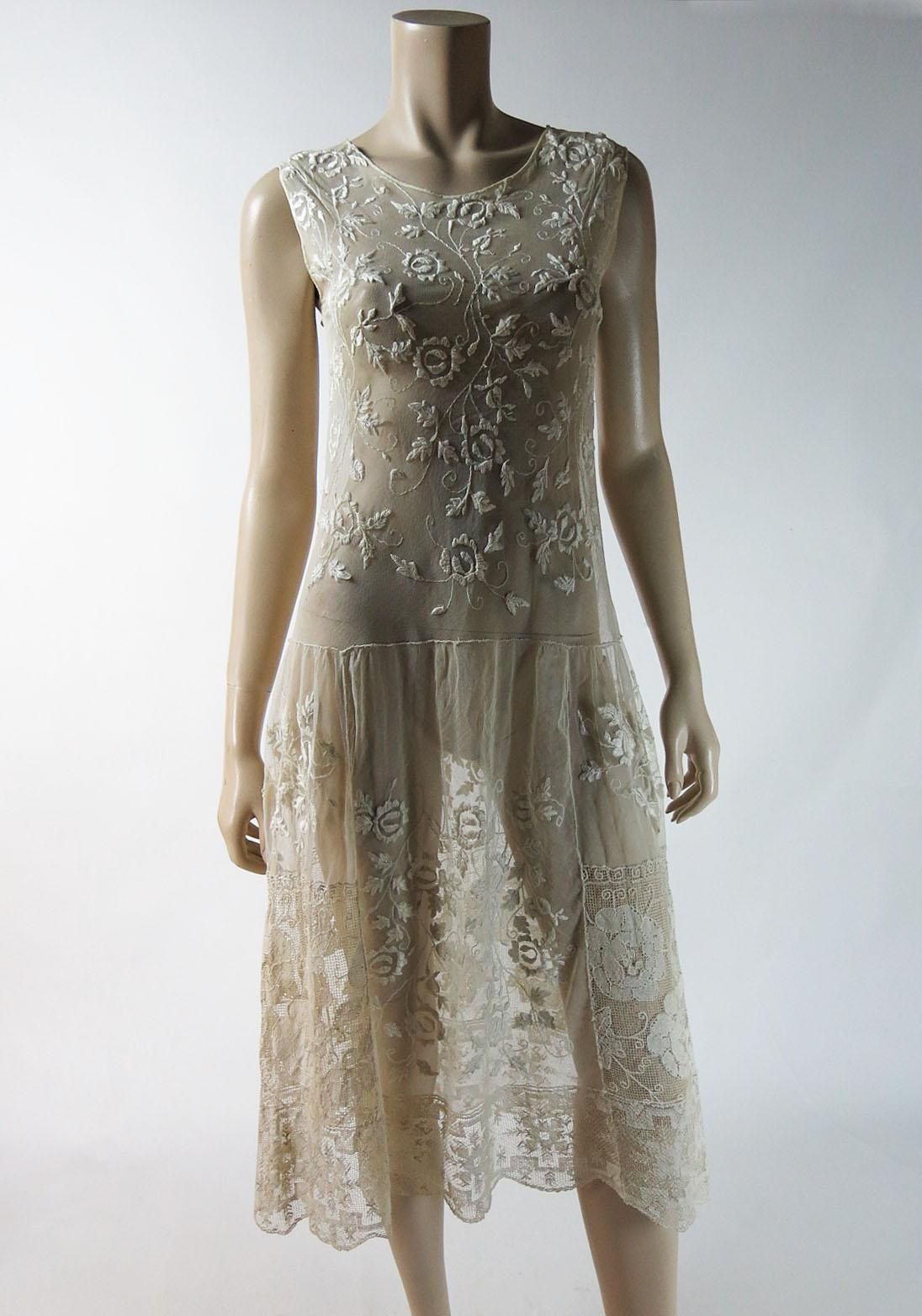 Vintage 1920's Mixed Lace DropWaist Dress With Rose