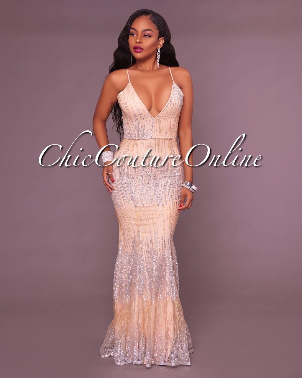 Palomina Nude Silver Sequins Mermaid Maxi Dress