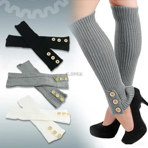 Lady Fashion Three Buttons Soft Knit Winter Leg Warmers Boots Cover ...