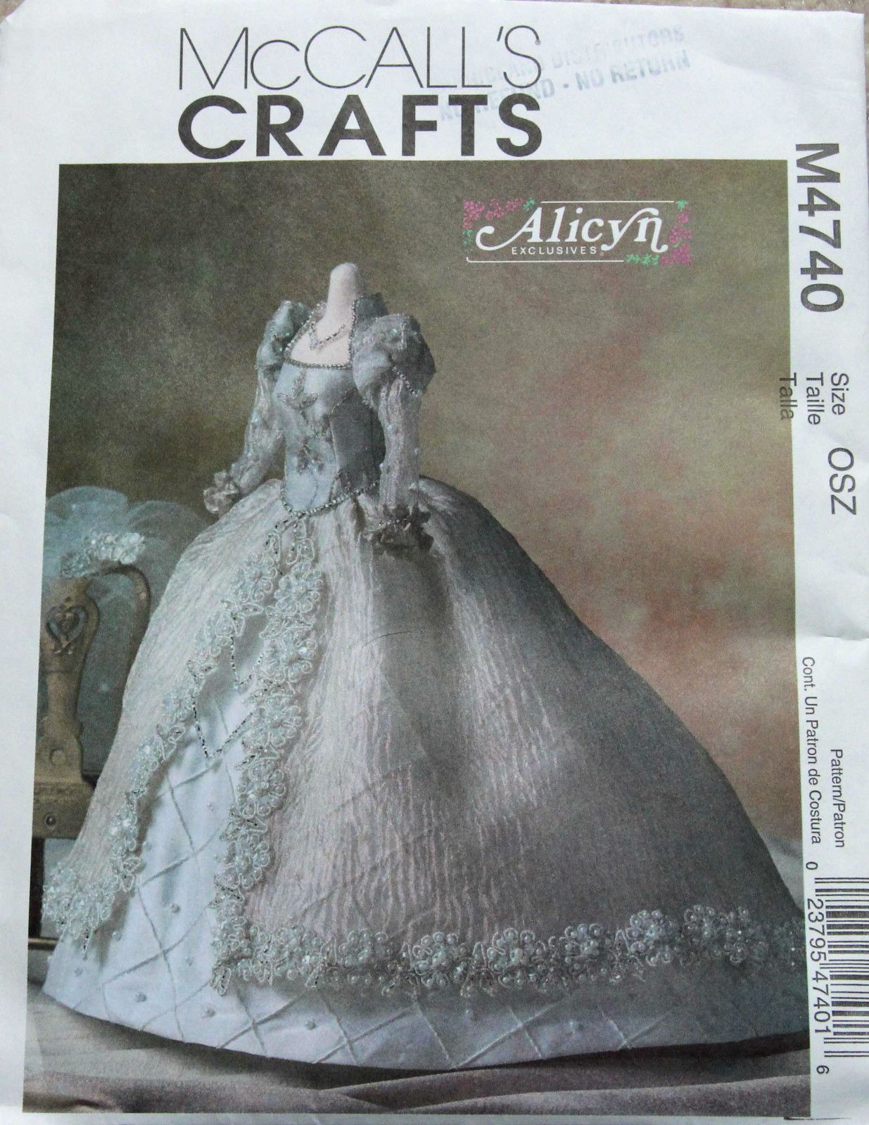"""McCall's Alicyn Wright 11 1 2"""" Doll Bridal Gown Pattern No M4740 