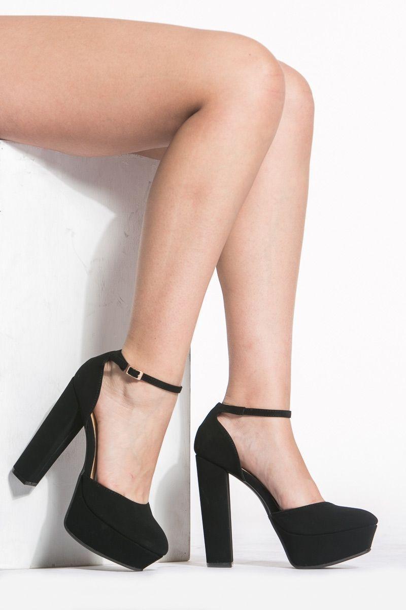801af57d4eb Black Faux Suede Ankle Strap Chunky Platform Heels   Cicihot Heel Shoes  online store sales