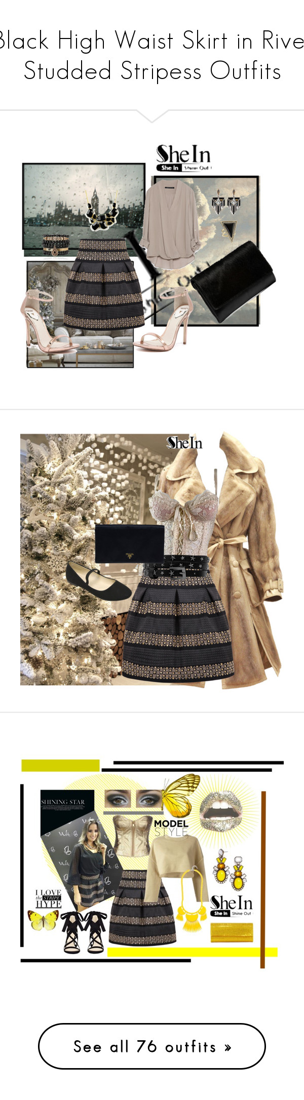 """Black High Waist Skirt in Rivet Studded Stripess Outfits"" by fairywitch ❤ liked on Polyvore featuring Zara, Windsor Smith, House of Harlow 1960, Samantha Wills, Emi Jewellery, Lulu Frost, Manfield, women's clothing, women and female"