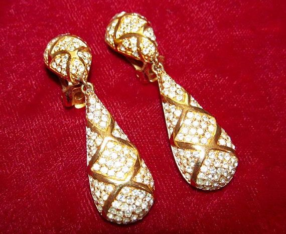 Vintage Christian Dior Rhinestone Earrings by CollectionSelection, SOLD