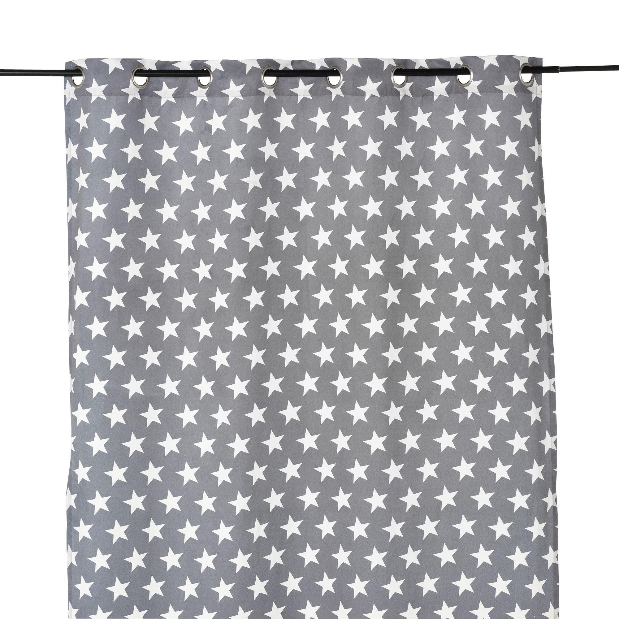 Rideau illets 140x250cm gris motifs toiles gris blanc - Rideaux salle a manger salon ...