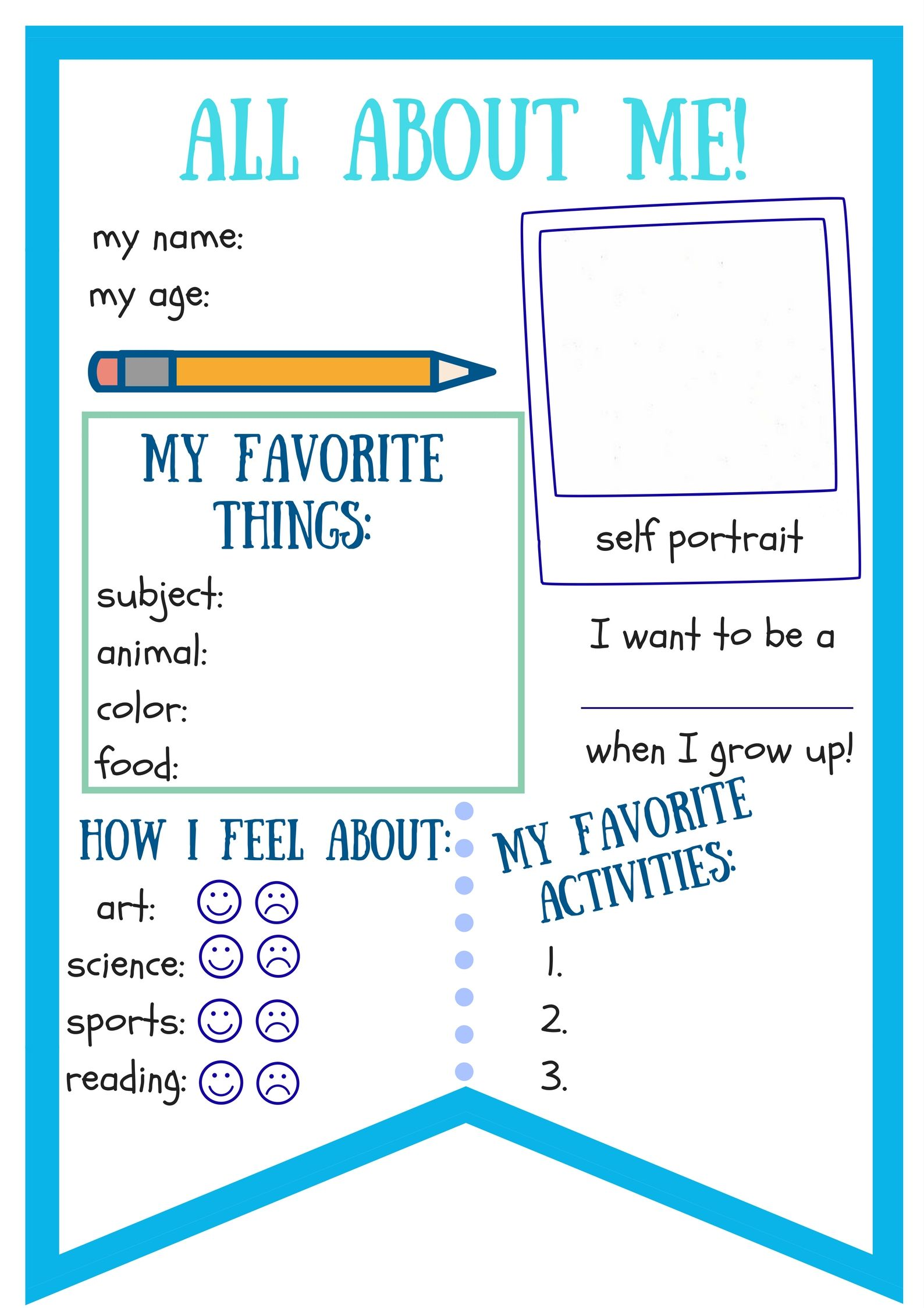 First Day Of School All About Me Worksheet Or Banner For