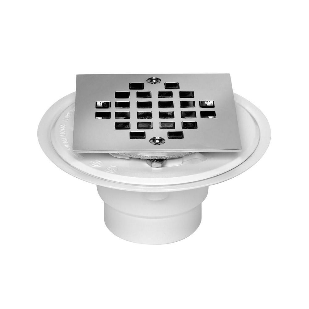 Oatey 2 In To 3 In Pvc Shower Low Profile Square Drain Silver