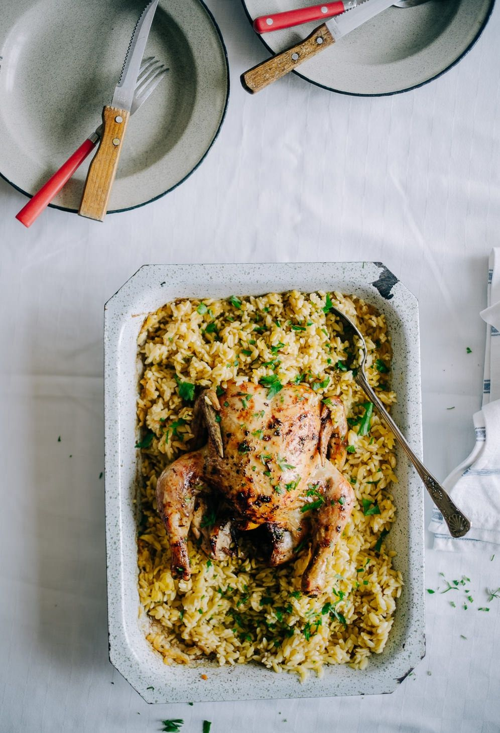 Roast chicken and Orzo Souvlaki for the Soul