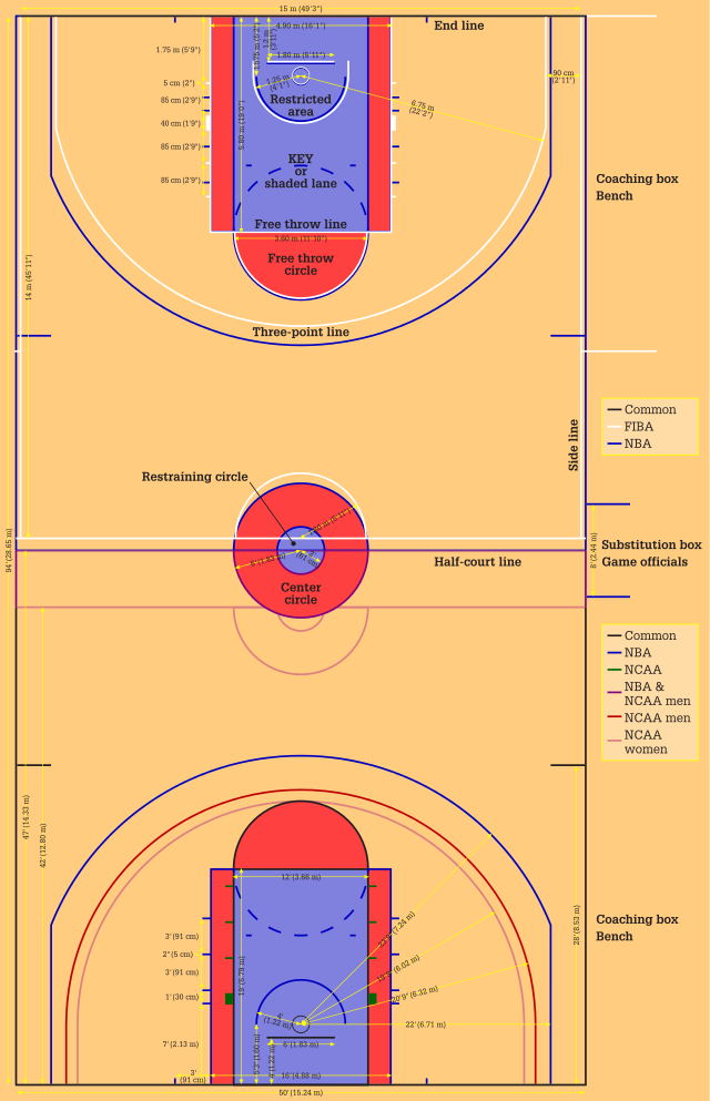 How To Draw A Basketball Court Via Wikihow Com Basketball Rules Basketball Workouts Basketball Drills