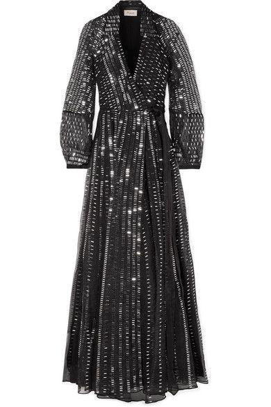 Temperley London Jet Sequined Silk Wrap Dress - Black -   15 dress Silk christmas gifts ideas