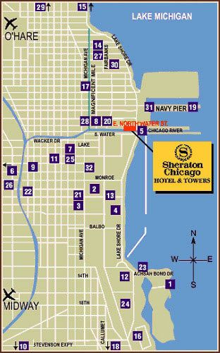 Downtown Chicago Hotel, Chicago River Hotel - Sheraton Chicago Hotel on