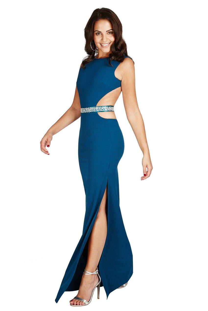 Jewelled waist maxi dress teal front dr jewelled waist
