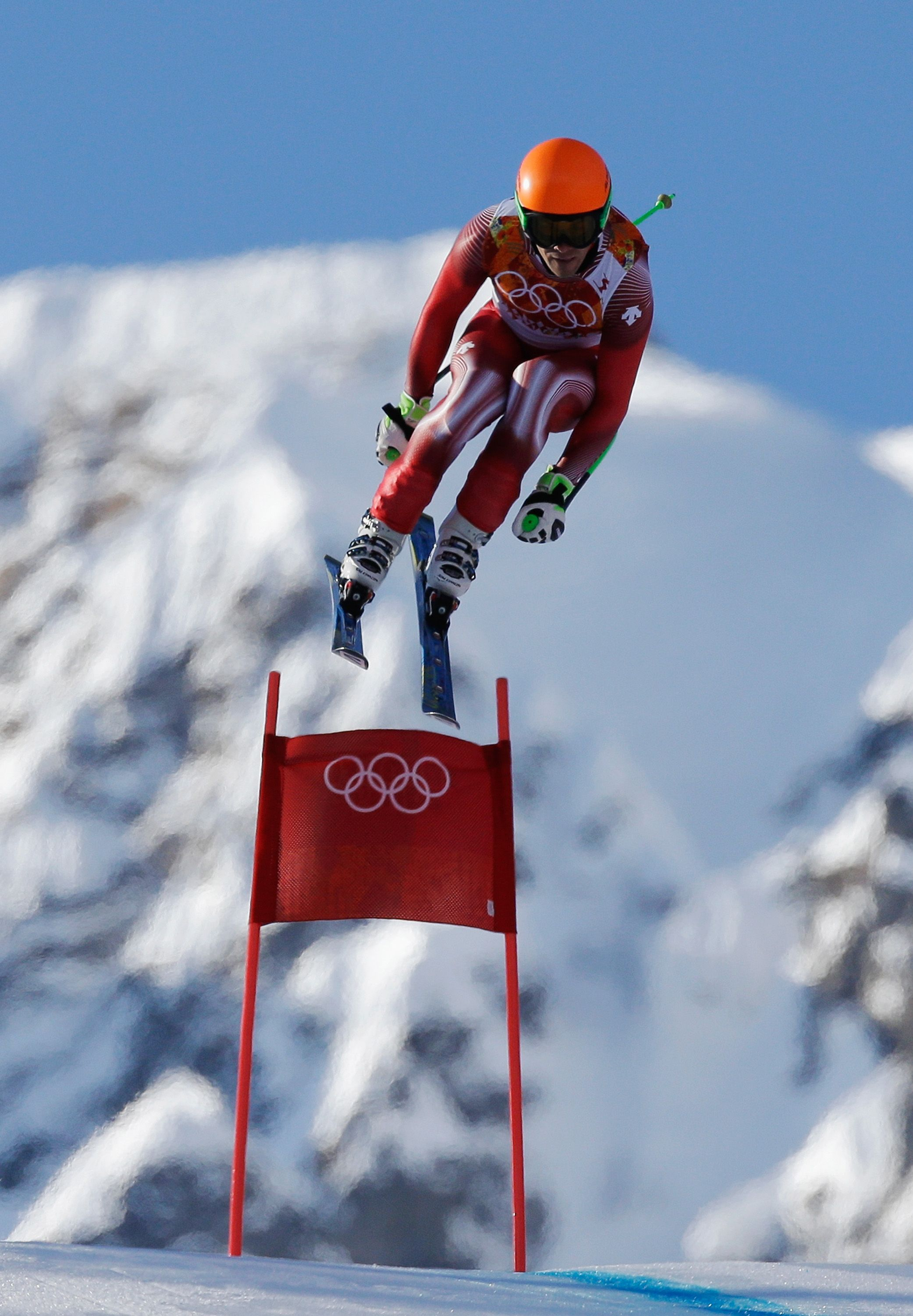 Sandro Viletta of Switzerland competes during the Alpine Skiing Men's Super Combined Downhill (c) Getty Images