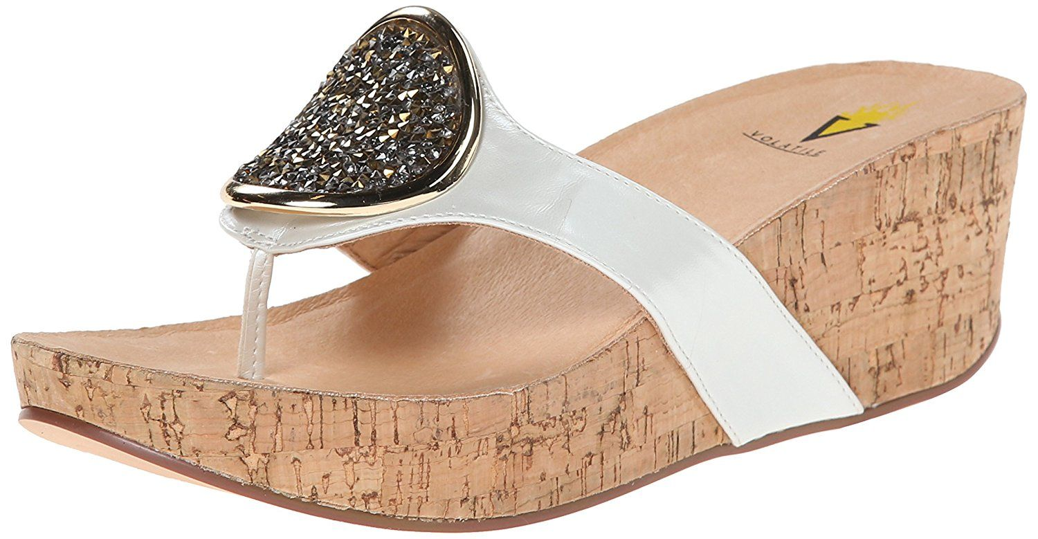 Volatile Women's Sterling Wedge Sandal, White, 9 B US