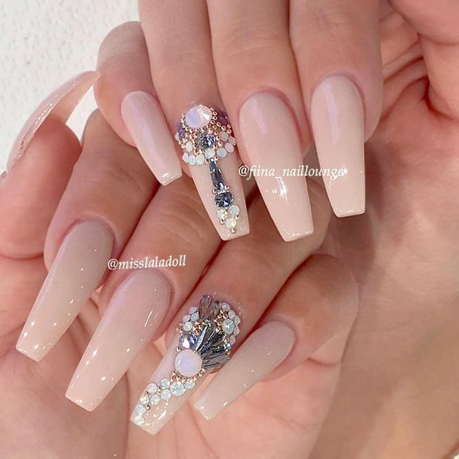 Magnificent Ballerina Nail Shape Designs Nails With Rhinestones Picture 1 A
