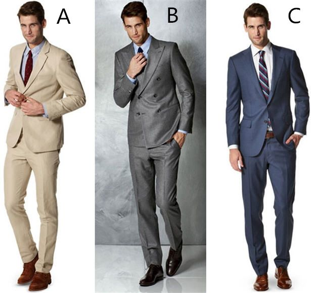 Tailor Made Italian Style Beige Blue Gray Groom Tuxedos Mens ...
