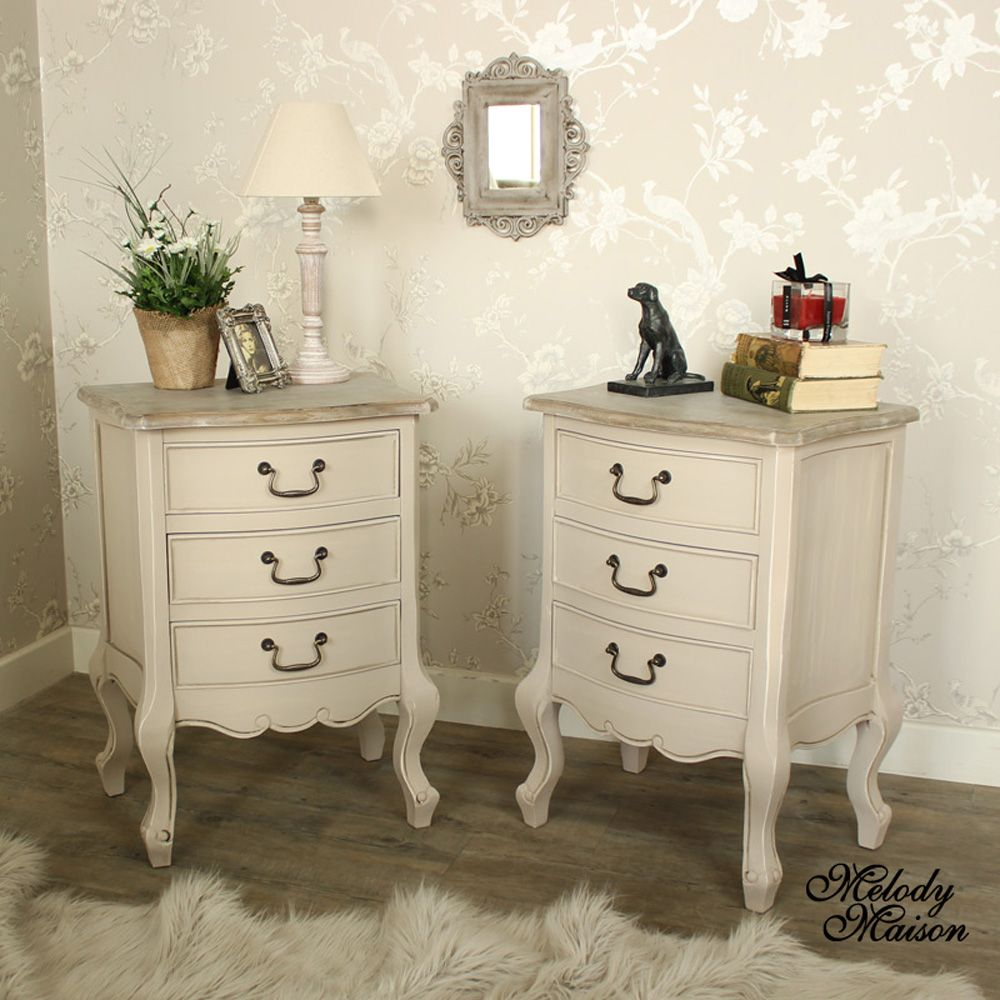 Mushroom grey painted pair of wooden drawer bedside chests