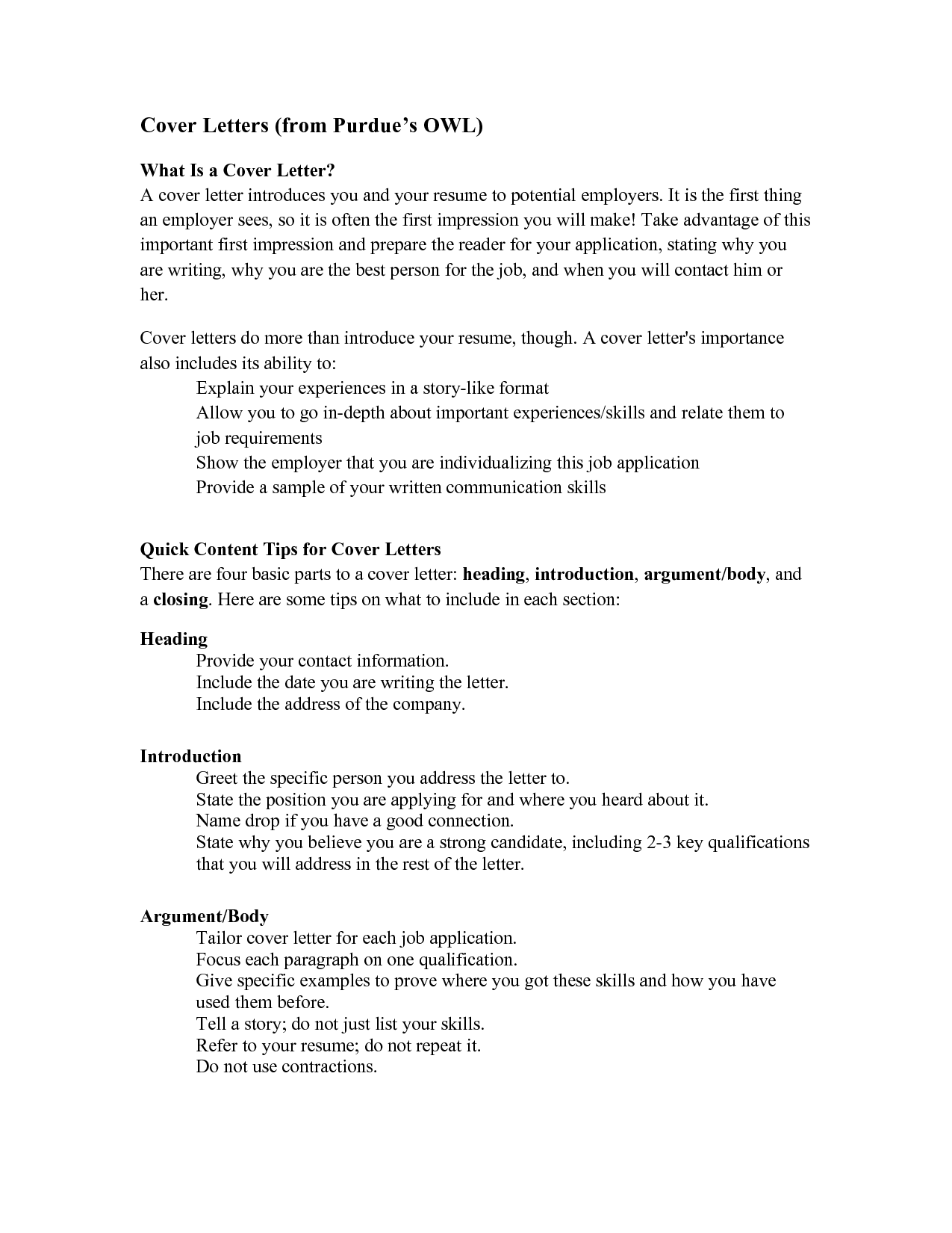 this a great outline of what to put in a cover letter careers