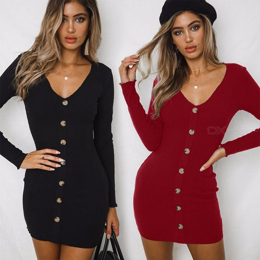 Wq020 Womens V Neck Long Sleeve Slim Fit Dress With Button Closure Simple Solid Buttoned Dress For Women Womens Dresses Dresses Bodycon Tops [ 1000 x 1000 Pixel ]
