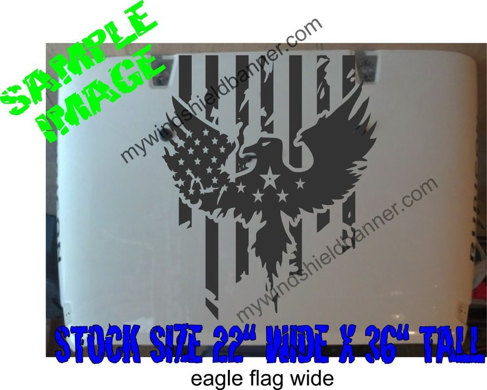 36 Distressed American Flag With Eagle Hood Decal Wide Version