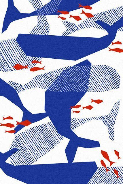 Print mit Walen und Fischen #muster #druck #print#design #bemaltestöcke