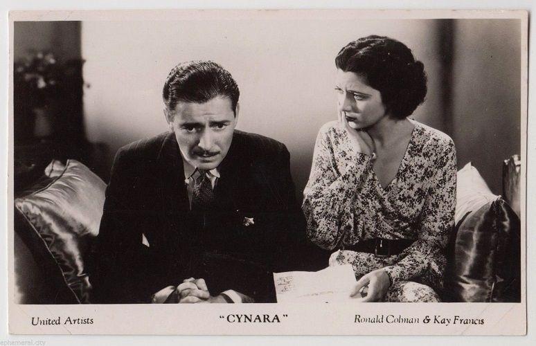 """Kay Francis Ronald Coleman """"Cynara"""" lobby card 1932"""