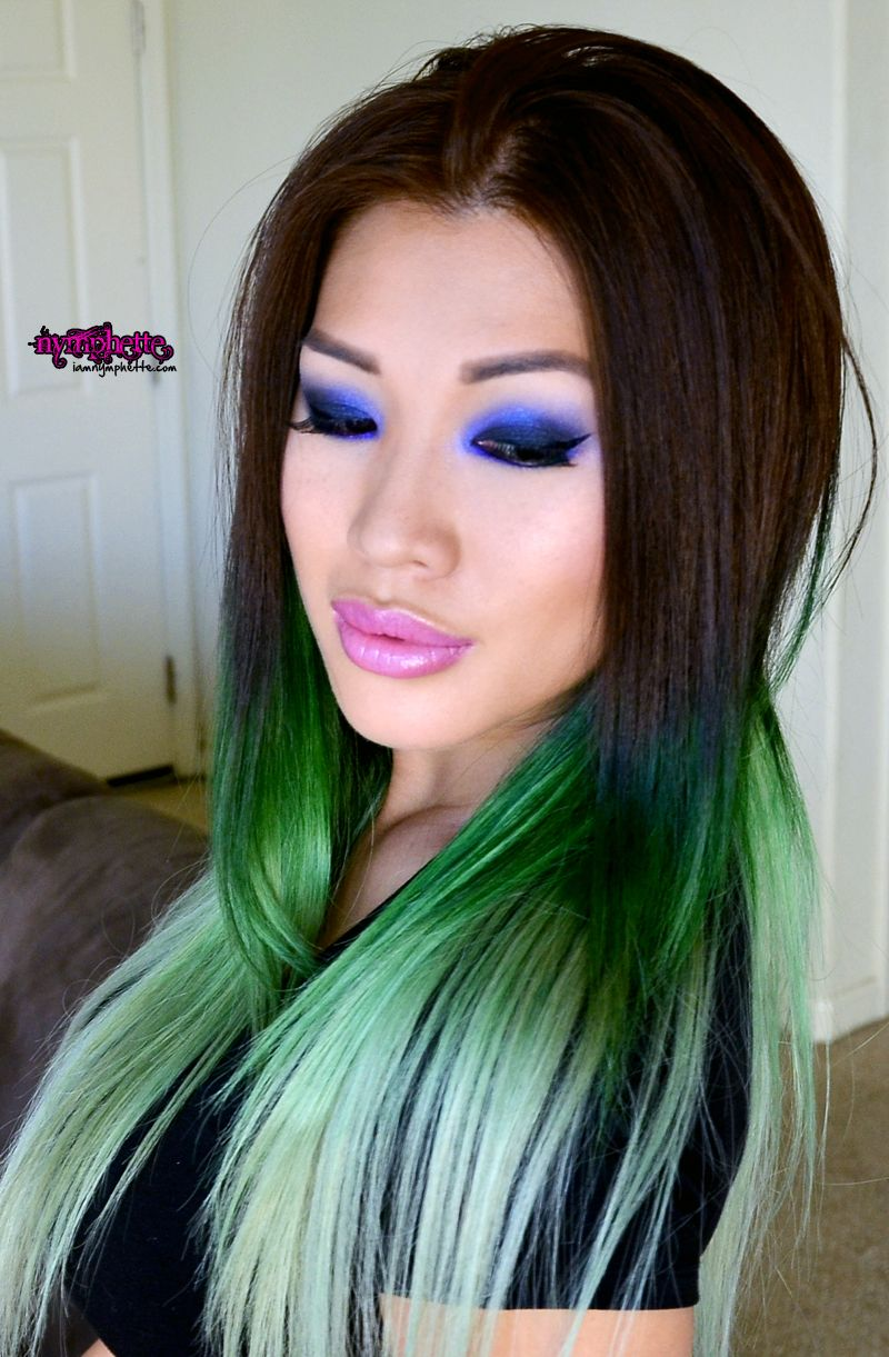 brown to green ombre Punky Colours & Winks Lashes makeup ...
