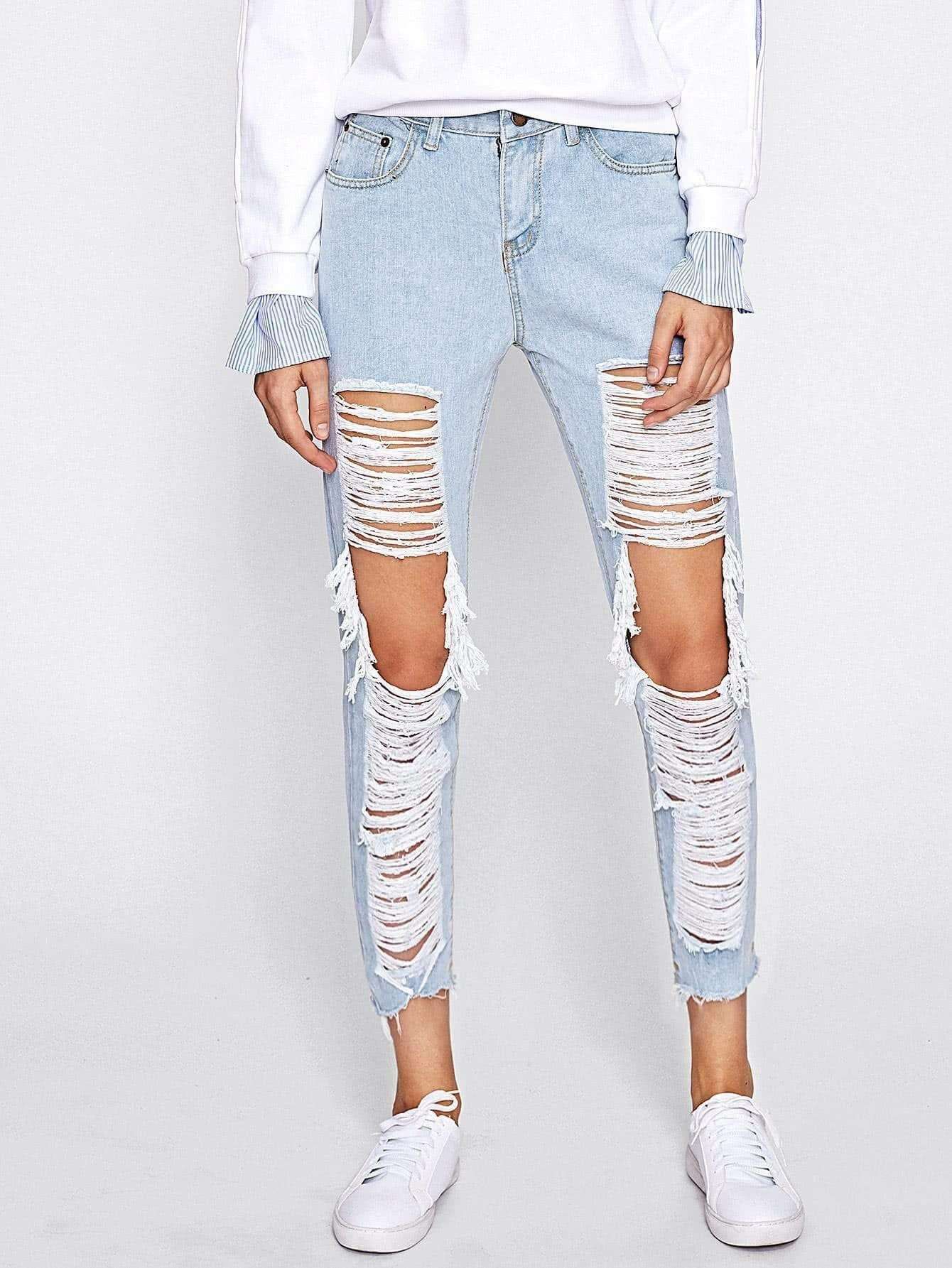 c966582343 Extreme Distressing Ripped Knees Jeans - Popviva DESTROYED STRETCHY PANTS