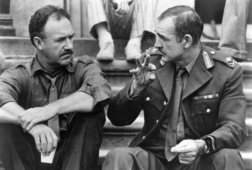 """Sean Connery and Gene Hackman on the set of """"A Bridge Too"""