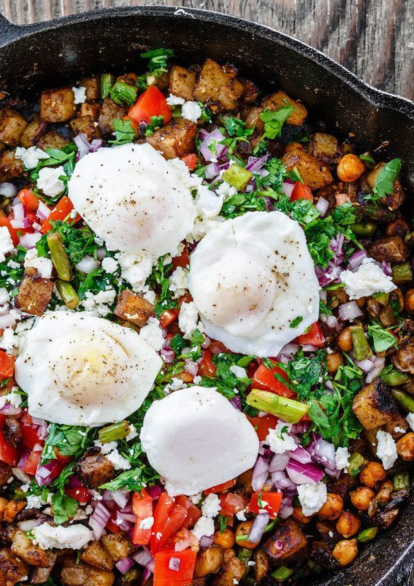Eating Meals Ideas Mediterranean Potato Hash with Asparagus Chickpeas and Poached Eggs