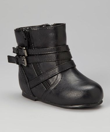 Take a look at this Black Double-Buckle Boot by kensiegirl on #zulily today!