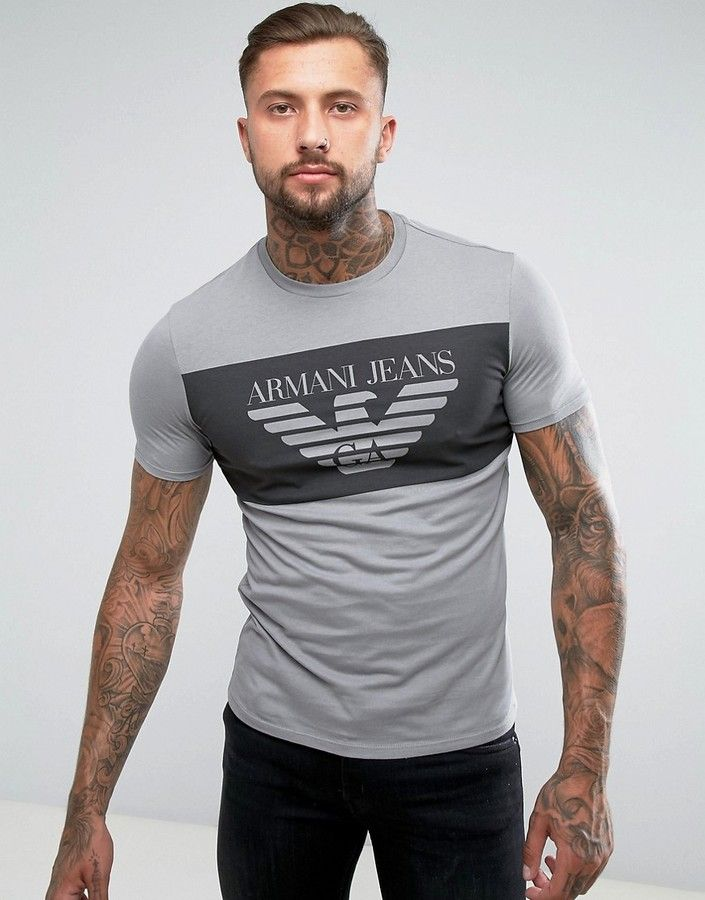e3abac98bb1 Armani Jeans Eagle Block Logo T-Shirt Regular Fit in Gray