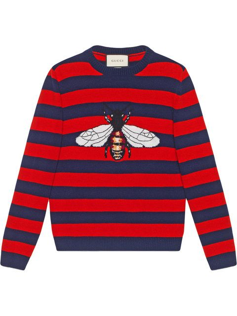b61f50f3922 Gucci Striped Wool Sweater With Bee - Farfetch