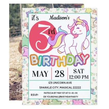 Unicorn 3rd birthday party invitation invitations personalize unicorn 3rd birthday party invitation invitations personalize custom special event invitation idea style party card cards filmwisefo