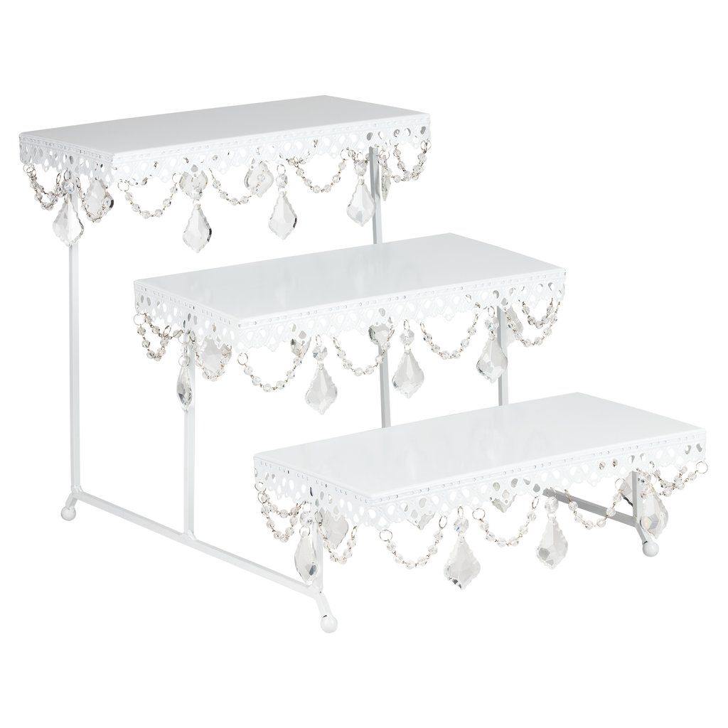 3 Tier Serving Platter And Cupcake Stand With Crystals White Bases Para Pasteles