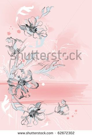 stock vector : Vertical floral background. Flowers on a vertical artistic pink background.
