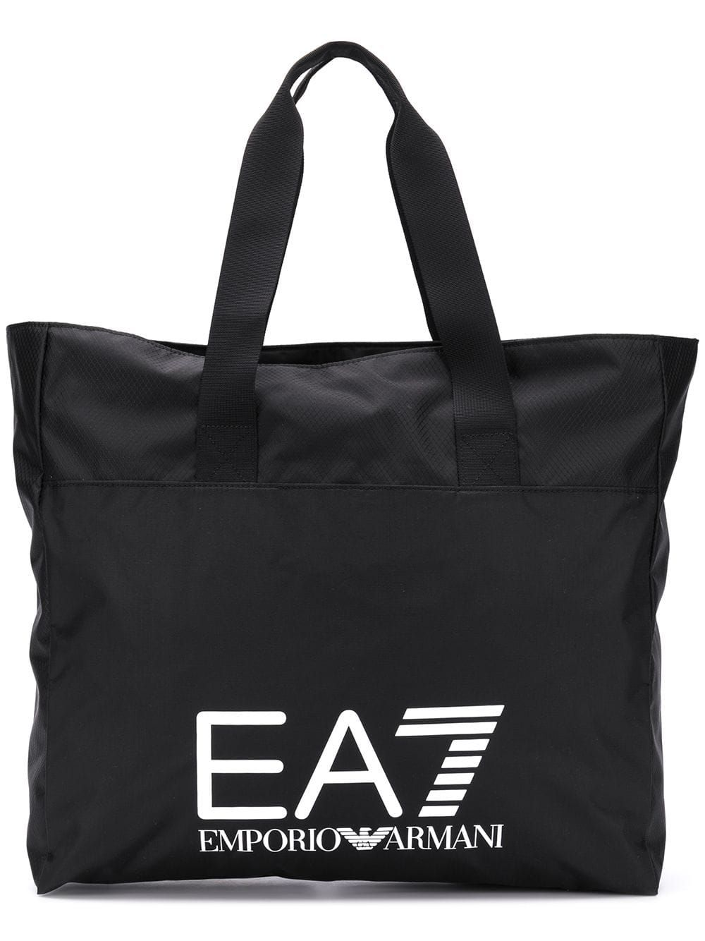 EA7 EMPORIO ARMANI EA7 EMPORIO ARMANI LOGO PRINT TOTE BAG - BLACK.   ea7emporioarmani  bags  hand bags  tote 5279cdafefde4