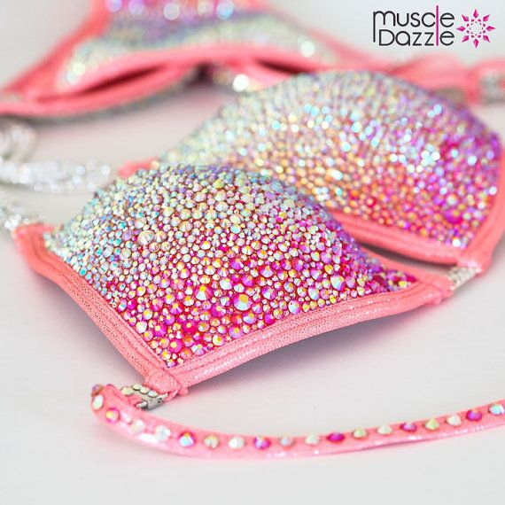 Peach Crystal Competition Bikini by MuscleDazzle on Etsy