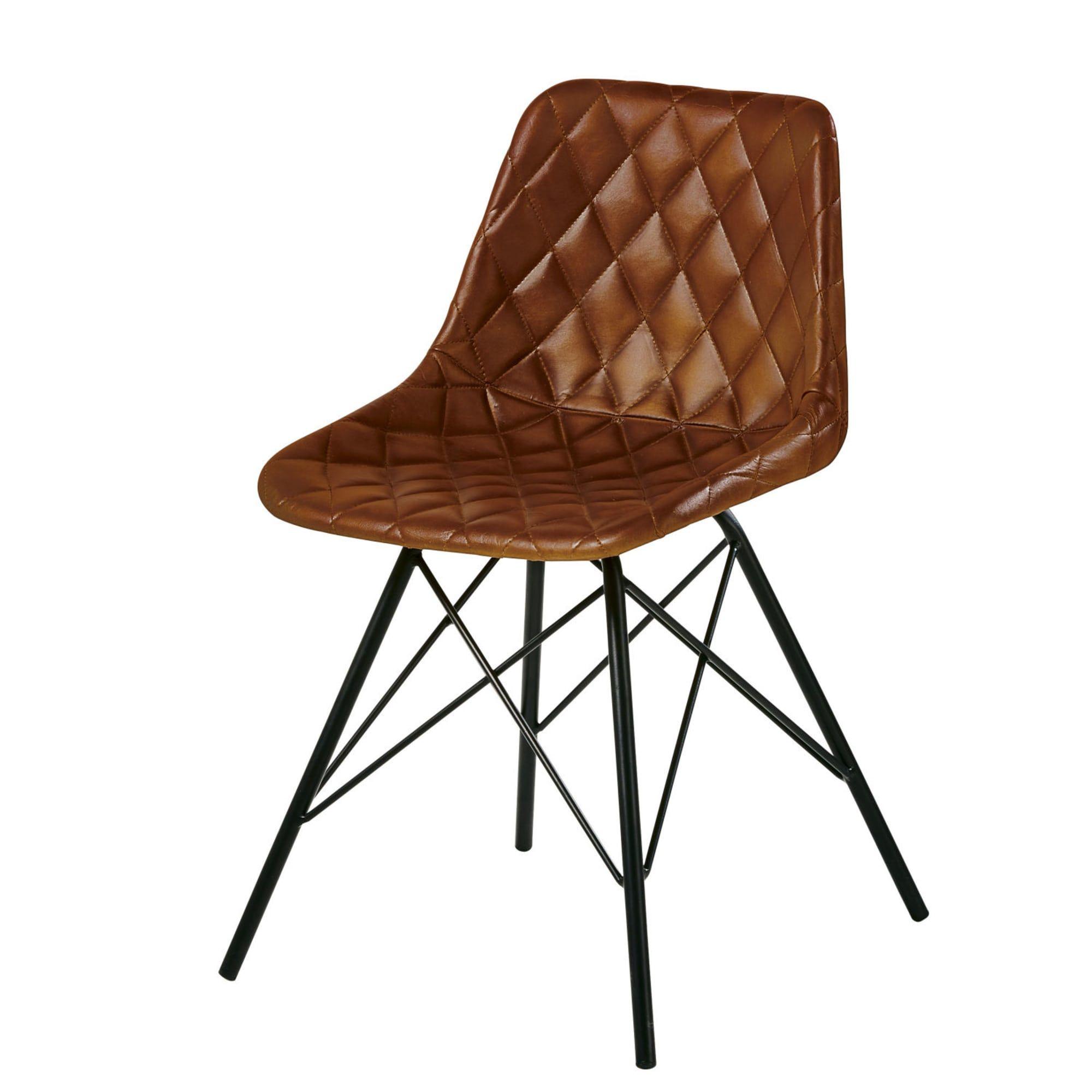 Stuhl Im Industrial Stil Aus Gestepptem Leder Braun Austerlitz Blaue Samtstuhle Stuhle Stuhl Leder
