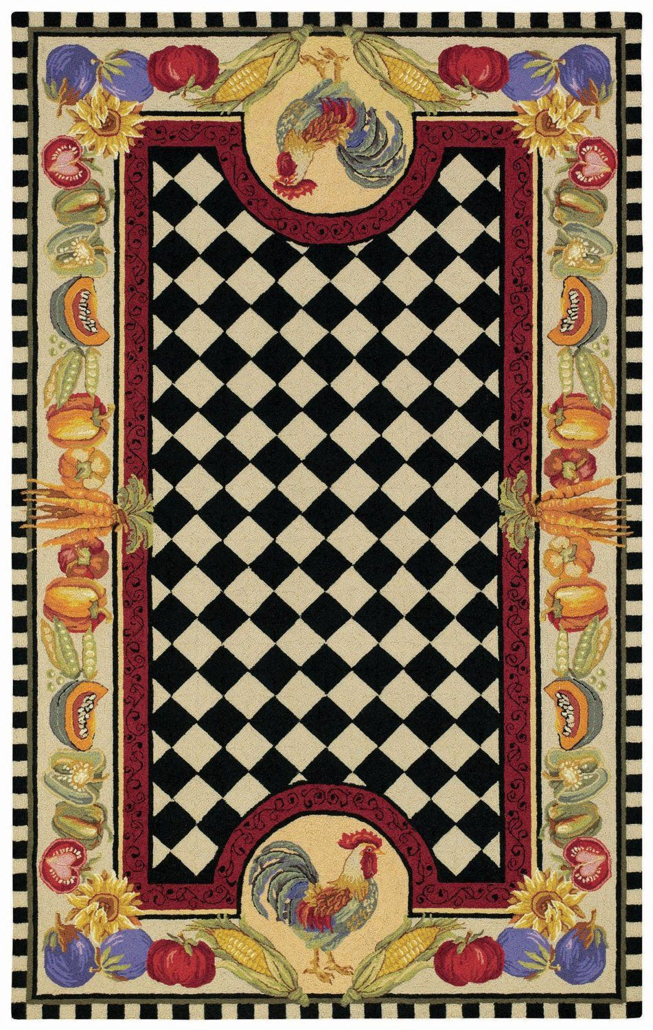 Contemporary Hand Made Novelty Rug With Black And White Checkered Center  And Two Roosters, Fruits