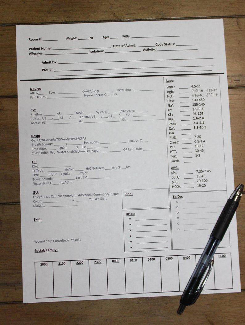 PRINTABLE Nursing brain sheet for report Nurse report