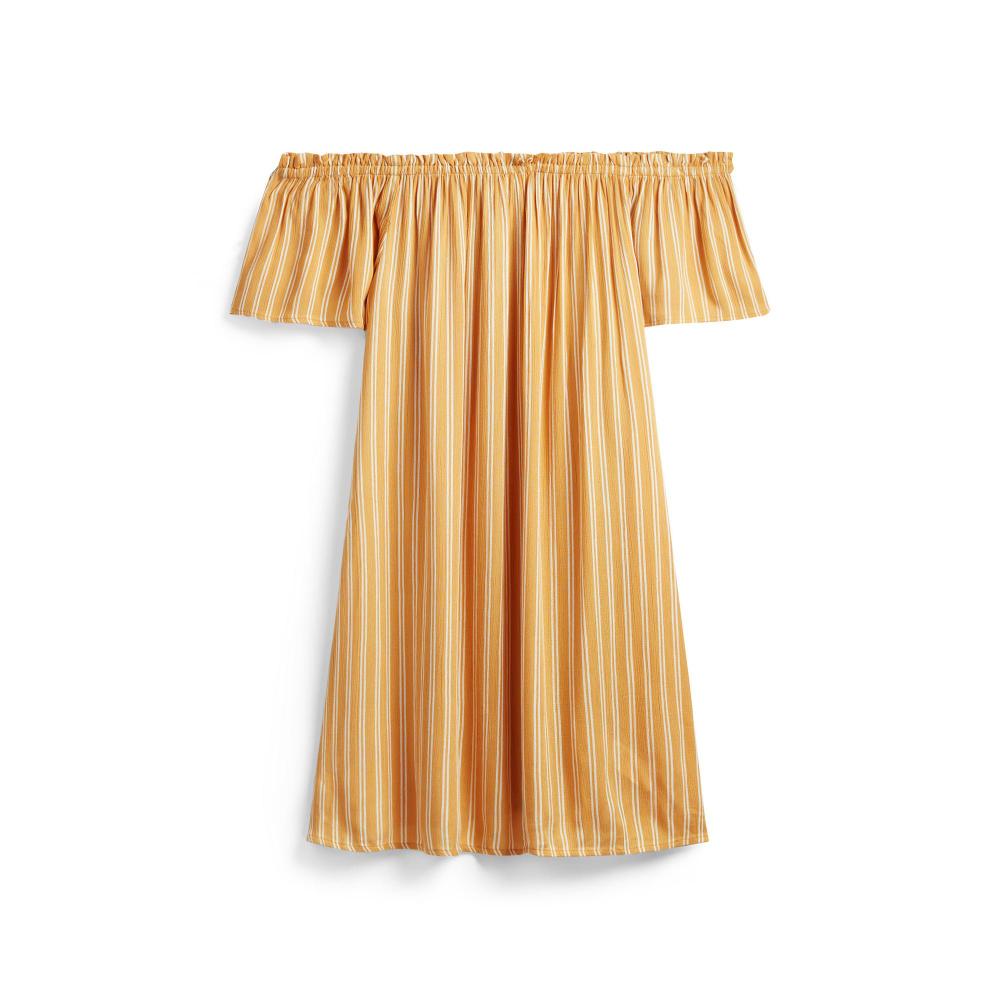 Gelb gestreiftes Bardot-Minikleid  Kleider  Kleidung  Damenmode
